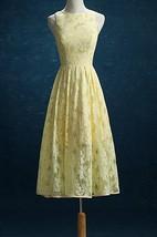2016 Lace Daffodil Bridesmaid Daffodil Lace Tea Length Wedding Formal Party Prom Tea Length Dress