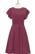 Chiffon A-Line Knee Length Dress With Bateau Neck and Cinched Waistband
