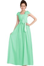 Petal Pleated A-line Gown With Bow and Band