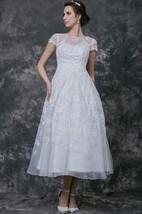 Short Sleeve Tea-length lace Wedding Dress