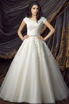 Royal Short Sleeve Ball Gown Wedding Dresses