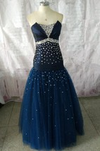 Strapless Tulle&Taffeta Dress With Beading And Lace Up Back