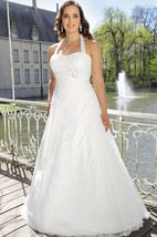 A-Line Long Halter Sleeveless Satin Lace Side Draping Flower Side Draping Dress