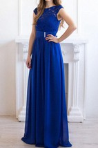 Cobalt Blue Maxi Chiffon Lace Bridesmaid Evening Wedding Party Dress