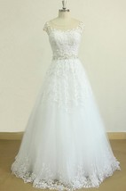 A-Line Tulle Lace Satin Dress With Beading Sash Ribbon Keyhole Back