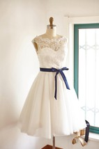 Fun Short Lace Tulle Wedding Bridal Gown Dress