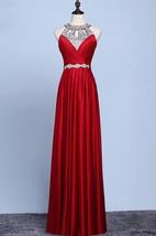 A-line Floor-length Halter sleeveless Jersey Beading Dress