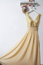 Gold Sequin V-neck A-line Chiffon Dress