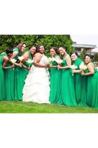 Emerald Green Convertible Wrap Full Length Dress