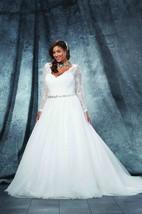 Ball Gown Long V-Neck Long Sleeve Tulle Criss Cross Waist Jewellery Court Train Illusion Waist Jewellery Dress