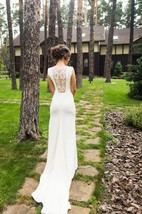Simple Crepe Open Back Wedding Dress With Unique Handmade Embellishment