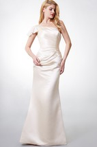 Charming One-shoulder Satin Gown With Cap-sleeve and Asymmetrically Ruching