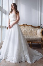 Strapless A-Line Ball Gown Appliqued Wedding Dress With Beaded Waist And Court Train