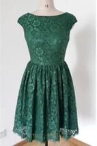 Short Cap Sleeve Lace Dress With Button