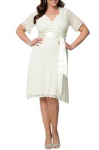 Short Sleeve Scalloped-Edge V-neck Knee-length Lace Dress With Satin Sash