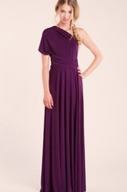 Purple Long Jersey&Satin Dress