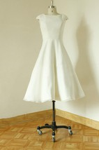 Jewel Cap Sleeve Zipper Back Tea-Length Satin Wedding Dress