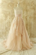 Strapless Lace-Up Back Long Chiffon Wedding Dress With Appliques And Tiers