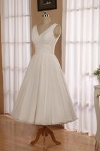 V-Neck Sleeveless Tea-Length Chiffon Wedding Dress With Beading And Low-V Back