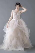 Tulle Organza Lace Button Zipper Wedding Dress