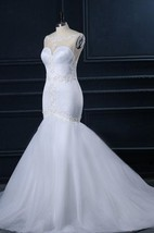 Mermaid Sweetheart Lace Satin Weddig Dress With Beading
