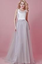 Scoop Neck Long Tulle Wedding Dress