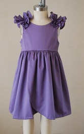 Purple Ruffle Cap Sleeve Scooped Back Dress