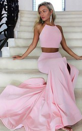 Halter Sleeveless Sweep Brush Train With Ruffles Satin Two Piece Dress