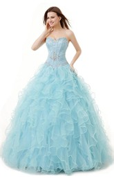 Sweetheart Ballgown With Ruffles and Sequins
