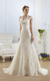 A-Line Floor-Length V-Neck Cap-Sleeve Keyhole Lace Dress With Appliques