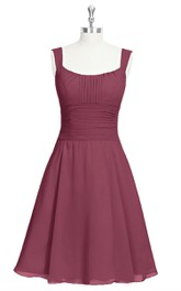 Sleeveless A-Line Short Chiffon Dress With Square Neckline and Cinched Waistband