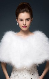 Bride Fur Ostrich Hair Shawl Cape Winter Wool Shawl