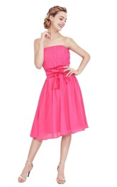 Strapless Knee-length Dress With Pleats and Bow