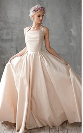 Halter Neck A-Line Taffeta Wedding Dress With Ruching