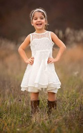 Boho Ivory Sleeveless Ruffled Flower Girl Lace Toddler Dress