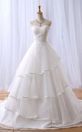 A-Line Long Sweetheart Appliques Chapel Train Zipper Lace-Up Back Tulle Lace Dress
