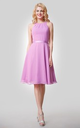 Chiffon Knee Length A-Line Dress With Straps and Satin Bow Sash