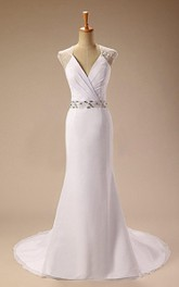 V-Neck Cap Illusion Back Sheath Satin Wedding Dress With Sash And Beading