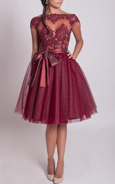 Tulle&Lace&Taffeta Dress With Zipper