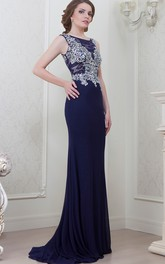 Sheath Sleeveless Scoop-Neck Crystal Floor-Length Jersey Evening Dress With Lace