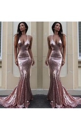 Sexy Backless Rose Gold Sequin Mermaid Evening Prom Dress