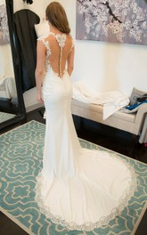 Jewel Illusion Neck Cap Sleeve Fit and Flare Jersey Wedding Dress