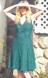 Deep Green Lace Vintage Bohemian Inspired Dress