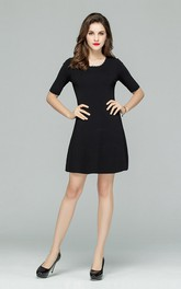 Black Scalloped Neckline Half Sleeve Mini Dress