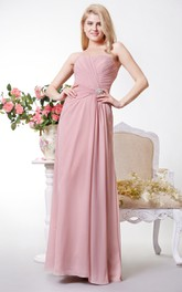 Backless Sweetheart Gathered Chiffon A-line Gown