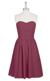 Short A-Line Strapless Sweetheart Chiffon Dress With Pleats