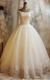 Gorgeous Short Sleeve Lace Wedding Dresses 2018 Ball Gown With Appliques