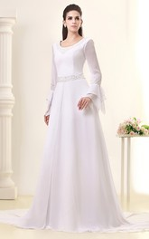 Elegant Long-Sleeve Maxi Dress With Crystal Detailing and Court Train