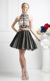 Two-Piece Muti-Color A-Line Short High Neck Sleeveless Tulle Keyhole Dress With Beading