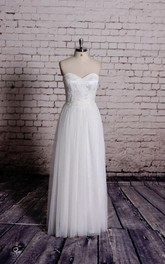 Sweetheart Bridal Gown With Lace Bodice and Pleats